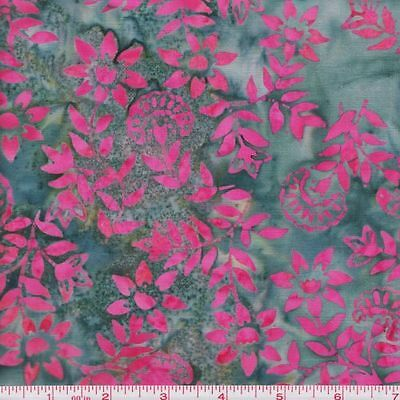 Anthology Fabrics Bali Batik 3075 Pink Floral Branches on Gray By the Yard
