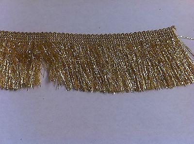 Metallic Gold 35mm Cut Lurex Rayon Fringe, Sash Fringe, Fringing