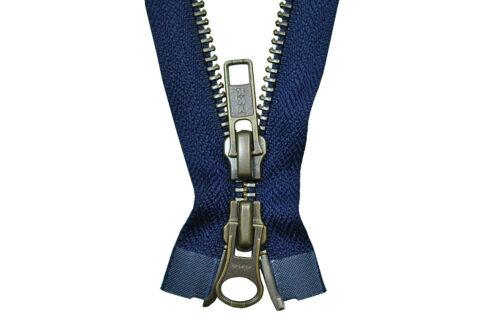 Ykk cremallera 2 vías divisible 5mm azul marino 85 cm de metal dientes de metal