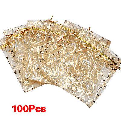 """100pcs Champagne Organza Drawstring Pouches Gift Bags 3.5""""x4.3"""" LW"""