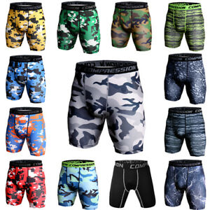 Men-039-s-Compression-Shorts-Gym-Workout-Running-Fitness-Boxer-Briefs-Camo-Tights