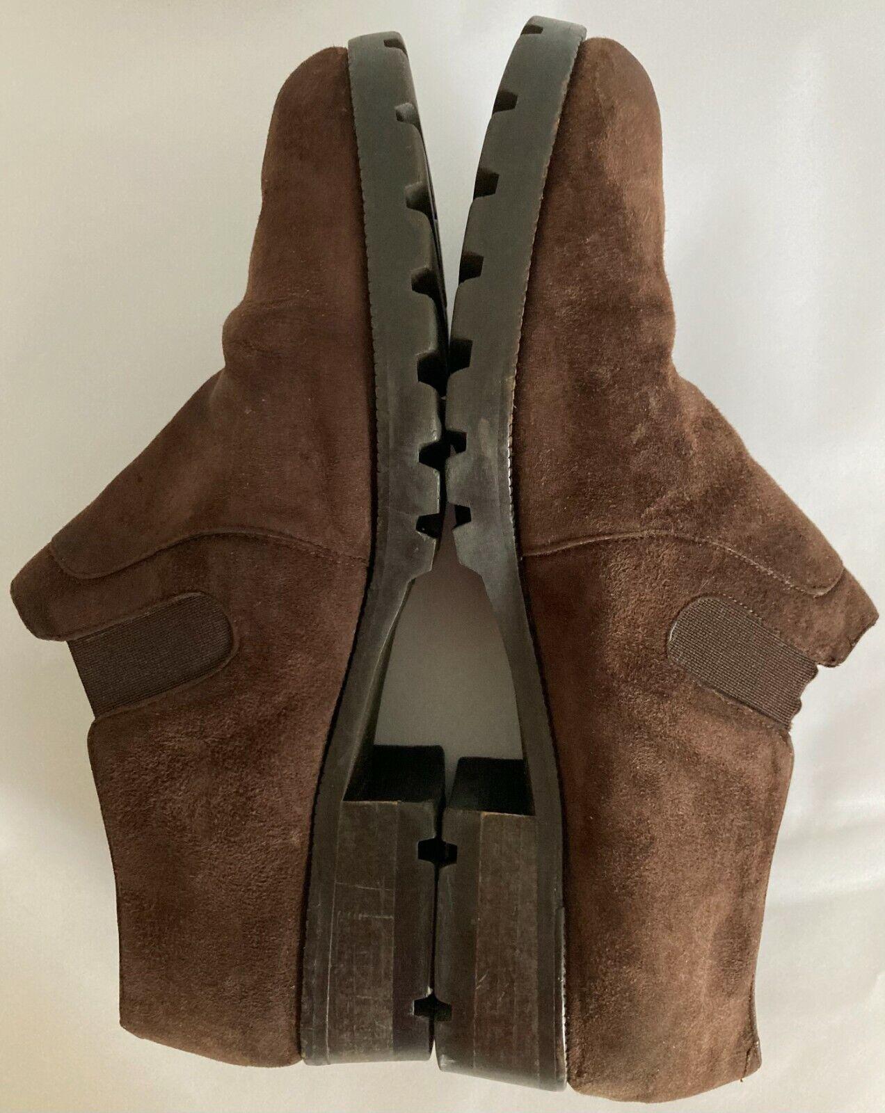 Amalfi Italy Low Heel Slip On Brown Suede Studio Shoes Loafers Women's SZ 7 1/2