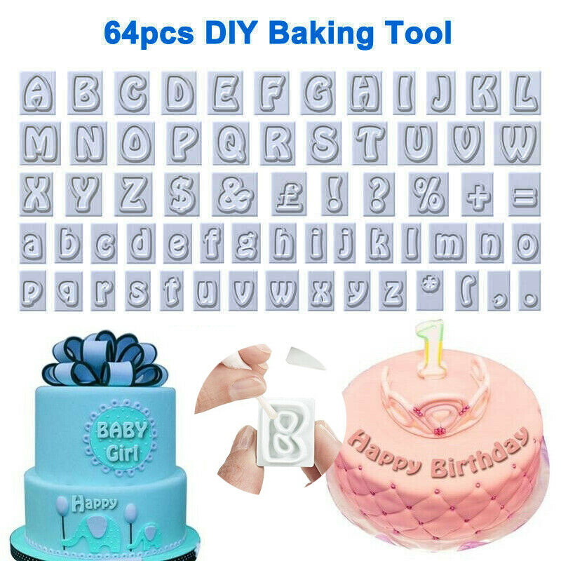 64pcs  Plastic Alphabet Shape Cookies Fondant Cutter Decor DIY Baking Tool