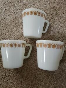 Vintage- Milk Glass- Butterfly Gold Pyrex #1410. Set Of Three Mugs(Bin#10)