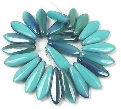 25 Czech Glass Dagger Beads - Ultra Luster - Turquoise - Blue 1/2 Coat 16mm