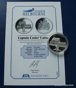 175-YEARS-OF-MELBOURNE-CAPTAIN-COOKS-COTTAGE-MACQUARIE-MINT-MEDALLION-AND-CERT