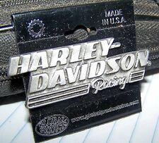 HARLEY DAVIDSON LARGE HARLEY DAVIDSON RACING SILVER VEST HAT PIN USA
