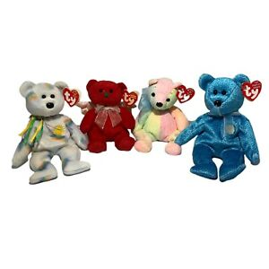 Lot of 4 - TY Beanie Baby Bears with tags Cheery Mellow Hark Classy