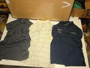 Lot 3 Mens Golf Shirts Tommy Hilfiger Striped Cotton, Mantles Grey Polyester LRG