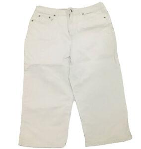Talbots Womens Pants sz 12 Tan Cropped Bermuda Short Stretch Casual Walking LR17
