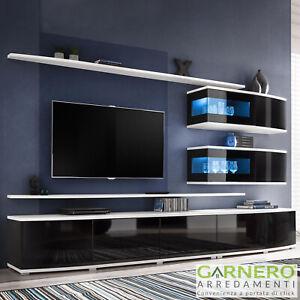 Dettagli su Parete attrezzata soggiorno MACURO curva nero lucido bianco tv  moderna led