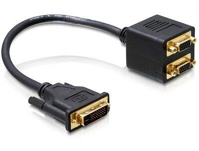 delock adapter dvi 24+5 pin stecker an 2 x vga buchse verteiler splitter
