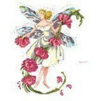 14 Count Charted Cross Stitch Kit Pale Yellow Fairy And Flowers 45x55cm Ebay