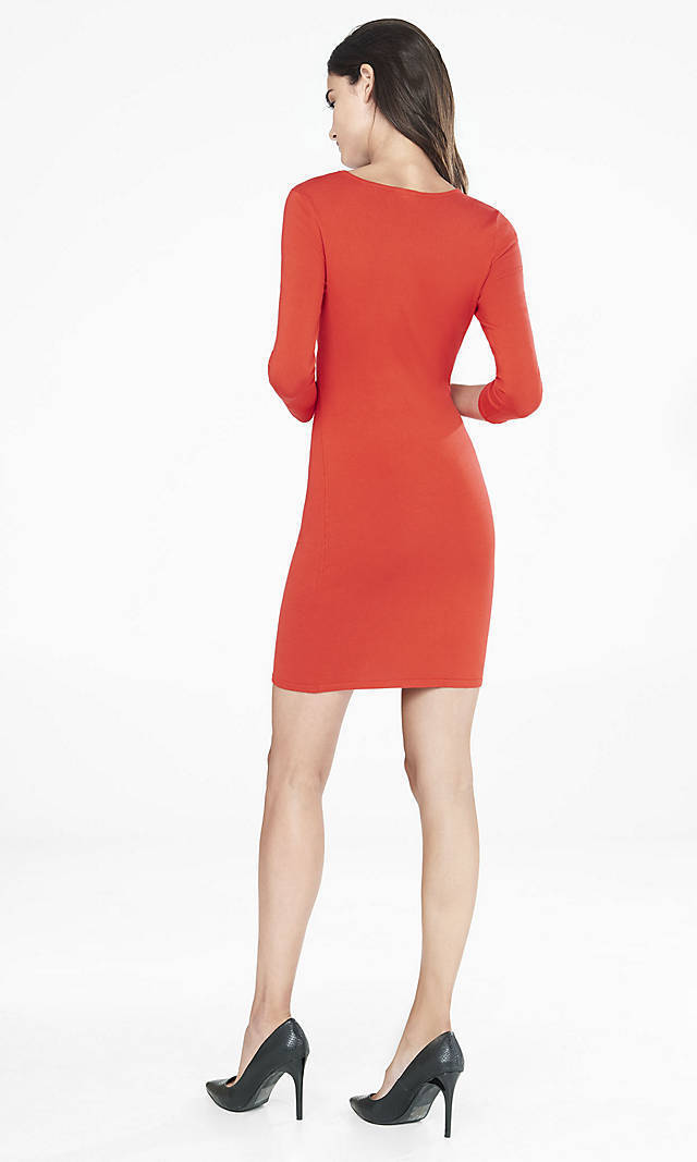845e44bf5e ... NEW EXPRESS 70 RED RED RED CHEST CUT-OUT SWEATER DRESS SZ L LARGE 85297a