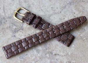 Braided-pattern-unpadded-16mm-Genuine-Leather-vintage-watch-strap-1960s-70s-NOS