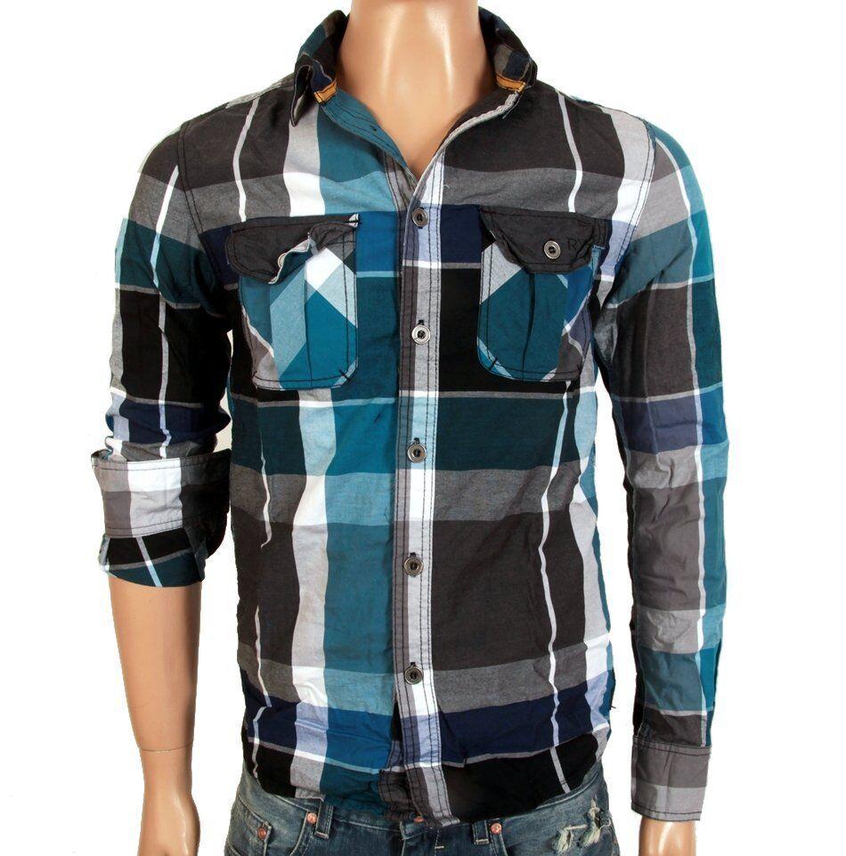 RVLT Revolution Bowie Shirt Hemd blue grey kariert Langarm Dayshirt bluee karo