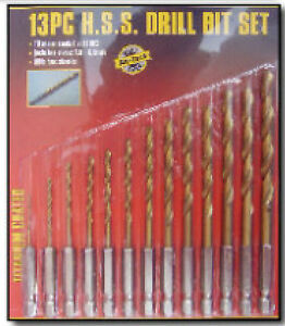 13pc-HSS-HIGH-SPEED-STEEL-DRILL-BIT-SET-HEX-SHANK-BITS-PIECE-DRILLS-SET-Am-Tech