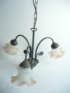 LAMPADARIO liberty in ottone brunito 3 luci con vetri