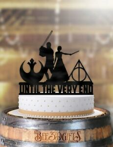 Details About Star Wars Jedi And Harry Potter Mage Bride Until The Very End Cake Topper