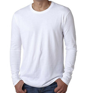 Bella   Canvas Men's 100% Cotton Long Sleeve Plain White Tee ...