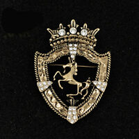 Vintage Gold Crown Galloping Horse Brooch Suit Sweater Guard Crystal Pin Brooch