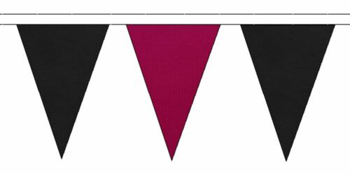 50m with 120 Flags Black /& Claret Triangular Flag Bunting