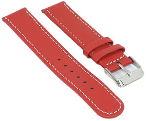 Leder-Uhrenarmband-Glatt-Rot-mit-Weisser-Naht-Uhr-Band-12-18mm-Armband-Uhrband