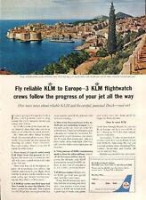 1962 KLM Royal Dutch Airlines Coast Adriatic Sea Dubrovnik Croatia  PRINT AD
