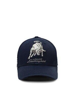 NWT AUTOMOBILI LAMBORGHINI CAP bull LXIII signature black Auth Italy cotton
