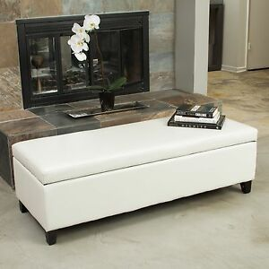 storage benches for living room living room ivory leather storage ottoman bench ebay 20284