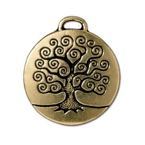 T771 TierraCast Tree of Life Pendant Antiqued Gold Plated Lead Free Pewter