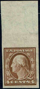 #346 TOP MARGIN SINGLE 1909 4 CENT IMPERF ISSUE MINT-OG/NH--VF/XF