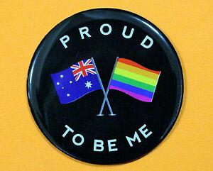 PROUD TO BE ME RAINBOW FRIDGE MAGNET AUSTRALIAN SOUVENIR GIFT LGBT GAY BLACK
