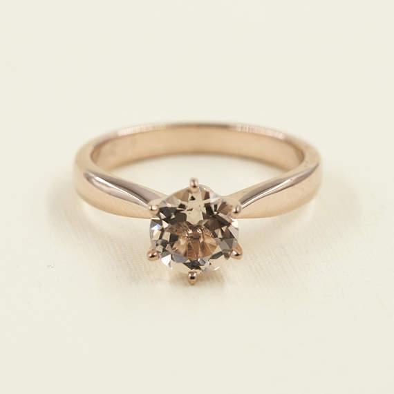 AAA Morganite Plain Engagement Ring.Round Morganite Solitaire 14k pink gold Ring