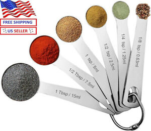 Pomufa 18/8 Stainless Steel Metal Measuring Spoons Set of 6 round Shape