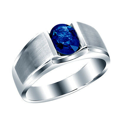 Solid 925 Sterling Silver Natural Gem Stone Blue Sapphire Men/'s Ring Us 7 8 9 10