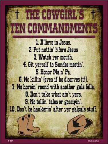 The Cowgirls Ten Commandments Funny Metal Sign