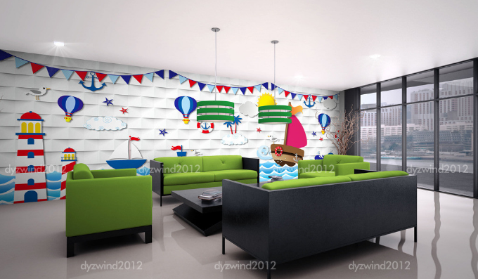 3D 3D 3D Towers Cartoon Sky 463  Paper Wall Print Wall Decal Wall Deco Indoor Murals 522328