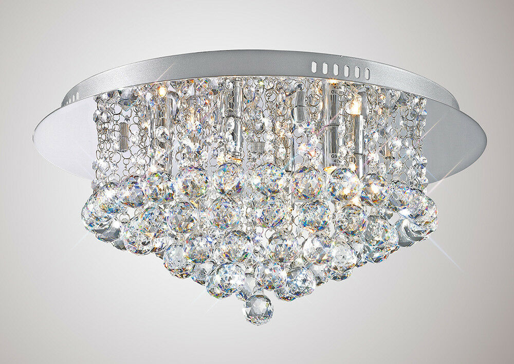DECO IL-D0003 Dahlia Dahlia IL-D0003 6 Light Flush Chrome Poli Finition 91f700