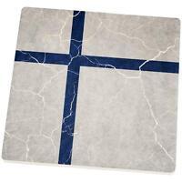 Distressed Finland Flag Set Of 4 Square Sandstone Coasters