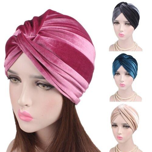 Women Indian Muslim Turban Hat Head Wrap Stretchable Chemo Pleated Hijab Cap CA