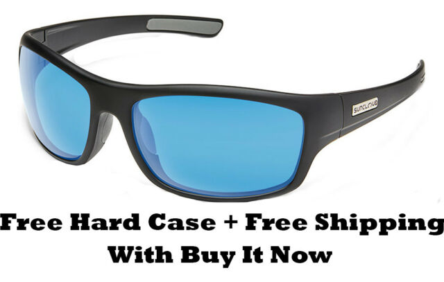 3d769a17b37 Suncloud Cover Sunglasses - Matte Black  Blue Mirror Polar Lens + Free Hard  Case