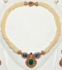CERTIFIED NATURAL 141CTS VS F G DIAMOND EMERALD SAPPHIRE PEARL 18K GOLD NECKLACE