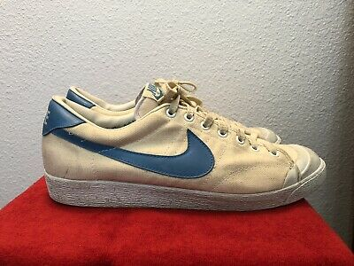 Details zu Vintage 1981 Nike All Court Tennis Shoes Mens 10.5 WhiteBlue RARE Blazer Canvas