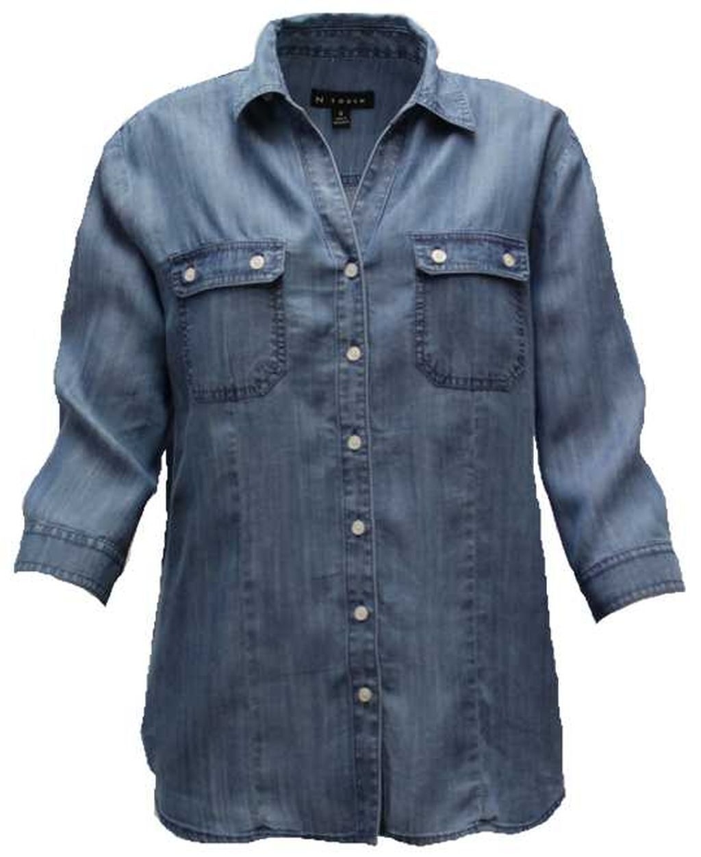 N Touch Tencel Medium Wash Blouse Shirt Tunic   Größe  3X    3199