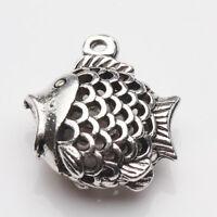 2/5Pcs Tibetan Silver Hollow Out Cute Fish Shape Charm Pendant 21x18mm Findings