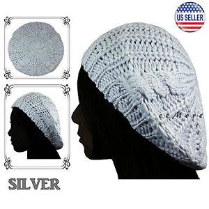 0d938d0a Knitted Beret Crochet Braided Hat Beanie Cap Women Winter SILVER US ...