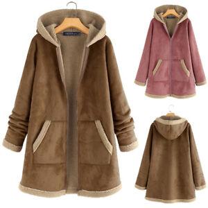 Mode-Femme-Hiver-Peluche-Manche-Longue-Chaud-Loose-Manteau-a-capuche-Veste-Plus