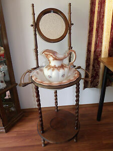 Wood Wash Basin Stand With Pitcher And Bowl Ebay