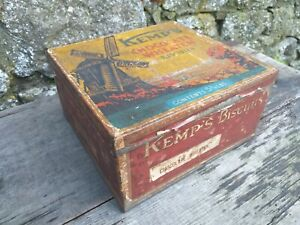 Collectable-Vintage-c1930-039-s-Kemp-039-s-Chocolate-Wheaten-Biscuit-Tin-5-3-4lbs-Size